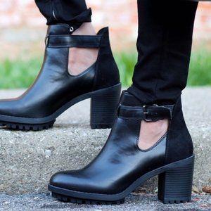 Zara TRF Edgy Black Cutout Ankle Booties Lug Sole